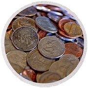 Coins In A Heap Round Beach Towel