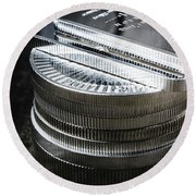 Coins Of Silver Stacking Round Beach Towel