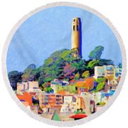 Coit Tower And The Empress Of China - Photo Artwork Round Beach Towel