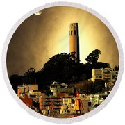 Coit Tower And The Empress Of China Under The Golden Moonlight Round Beach Towel
