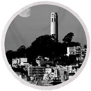 Coit Tower Empress Of China And The Moon - Black And White Round Beach Towel