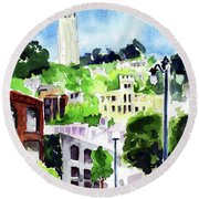 Coit Tower From The Embarcadero Round Beach Towel