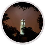Coit Tower Through The Trees Round Beach Towel