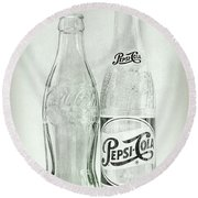 Coke Or Pepsi Black And White Round Beach Towel by Terry DeLuco