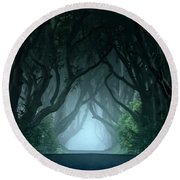Cold And Blue Morning At Dark Hedges Round Beach Towel