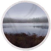 Cold And Misty Morning... Round Beach Towel