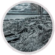 Round Beach Towel featuring the photograph Cold Autumn Day by Vladimir Kholostykh