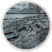 Cold Autumn Day Round Beach Towel by Vladimir Kholostykh