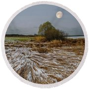 Cold Autumn Evening Round Beach Towel