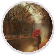 Cold Autumn Morning Painting Round Beach Towel