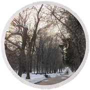 Cold But Not Lonely Round Beach Towel