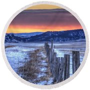 Round Beach Towel featuring the photograph Cold Country Sunrise by Fiskr Larsen