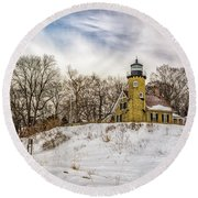 Round Beach Towel featuring the photograph Cold Day At White River Lighthouse by Nick Zelinsky