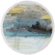 Cold Day Lakeside Abstract Landscape Round Beach Towel by David Lane