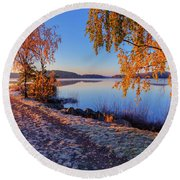 Cold Morning 2 Round Beach Towel