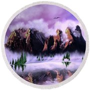 Cold Mountain Morning Round Beach Towel
