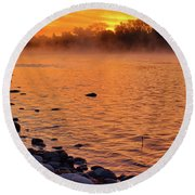 Cold November Morning Round Beach Towel