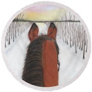 Cold Ride Round Beach Towel