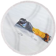 Round Beach Towel featuring the painting Cold Smoke by Kenneth M Kirsch