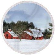 Cold Winter Days In Vermont Round Beach Towel
