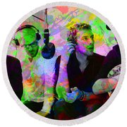 Coldplay Band Portrait Paint Splatters Pop Art Round Beach Towel by Design Turnpike