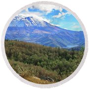 Coldwater Lake At Mt. St. Helens Panorama Round Beach Towel