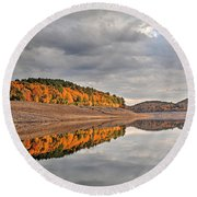 Colebrook Reservoir - In Drought Round Beach Towel