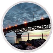 Coleman Bridge Reflections Round Beach Towel