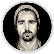 Colin Farrell  Total Recall Round Beach Towel by Fred Larucci