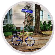 Round Beach Towel featuring the photograph Coliseum-washington Bicycle by Craig J Satterlee