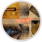 Collage - Cle Airport Round Beach Towel