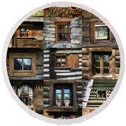 Collage From Handmade Traditional Wooden  Windows In Village Museum Bucharest Round Beach Towel