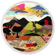 Collage Landscape 1 Round Beach Towel by Everett Spruill