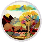Collage Landscape 2 Round Beach Towel by Everett Spruill