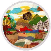 Collage Landscape 3 Round Beach Towel by Everett Spruill