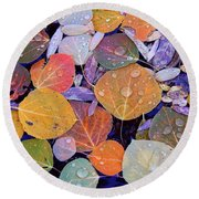 Collage Of Aspen Leaves At Mcgee Creek In The Eastern Sierras Round Beach Towel