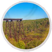 Collapsed Kinzua Railroad Bridge Round Beach Towel by Randy Steele
