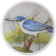 Collared Kingfisher Round Beach Towel
