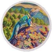 Collared Lizard Round Beach Towel