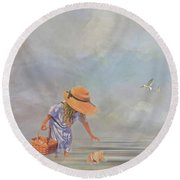 Round Beach Towel featuring the photograph Collecting Sea Shells by Mary Timman