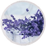 Collection Of Lavender  Round Beach Towel