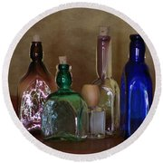 Collection Of Vintage Bottles Photograph Round Beach Towel