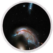 Round Beach Towel featuring the photograph Colliding Galaxy by Marco Oliveira