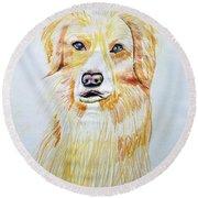 Collie Mix Dog Sketched Art Round Beach Towel