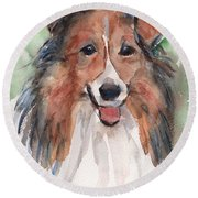 Collie, Shetland Sheepdog Round Beach Towel by Maria's Watercolor