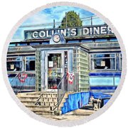 Collin's Diner New Canaan,conn Round Beach Towel
