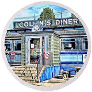 Collin's Diner New Canaan,conn Round Beach Towel by MaryLee Parker