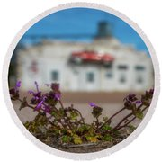 Round Beach Towel featuring the photograph Collyer Sidewalk Blooms by Darren White