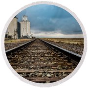 Round Beach Towel featuring the photograph Collyer Tracks by Darren White