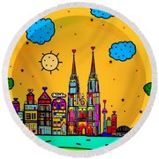 Cologne Popart By Nico Bielow Round Beach Towel